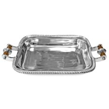 Kindwer Beaded Pyrex Rectangle Serving Tray