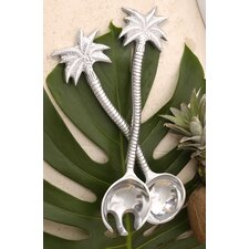 Kindwer 2 Piece Etched Tropical Palm Tree Aluminum Serving Set
