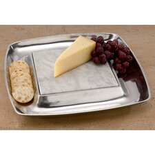 Kindwer Square Aluminum Cheese Square Serving Tray and Cracker Holder