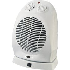 <strong>Optimus</strong> 1,500 Watt Fan Forced Compact Portable Oscillating Space Heater with Thermostat