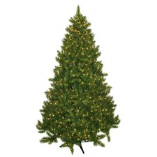 "89"" Green Evergreen Fir Artificial Christmas Tree with 700 Pre-Lit Clear Lights"