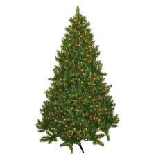 """89"""" Green Evergreen Fir Artificial Christmas Tree with 700 Pre-Lit Multicolored Lights"""