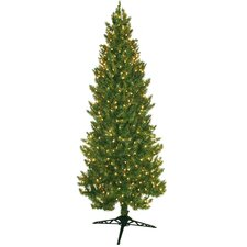 7' Green Slim Spruce Artificial Christmas Tree with 450 Pre-Lit Clear Lights