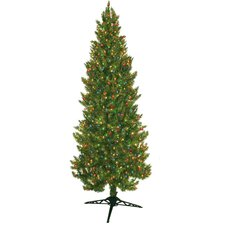 7' Green Slim Spruce Artificial Christmas Tree with 450 Pre-Lit Multicolored Lights