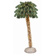 6' Green Tropical Artificial Christmas Tree with 150 Pre-Lit Clear Lights