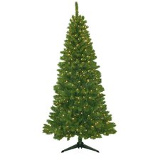 "Cascade 78"" Green Artificial Christmas Tree with 400 Clear Lights"