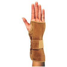Suede Wrist Brace in Brown / Tan