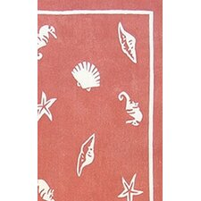 Beach Rug Light Coral Shells and Seahorses Novelty Rug