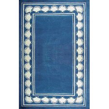 Beach Rug Blue Shell Border Novelty Rug