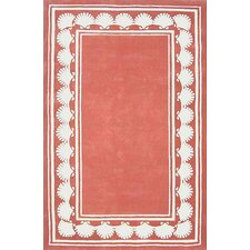Beach Rug Light Coral Shell Border Novelty Rug