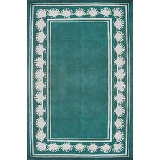 Beach Rug Teal Shell Border Novelty Rug