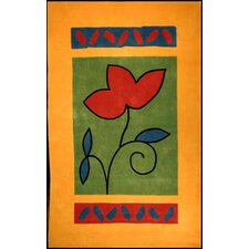 <strong>American Home Rug Co.</strong> Bright Rug Yellow/Green A Single Flower Novelty Rug