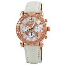 Women's Victory Rose Gold Bezel Leather Watch in White