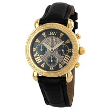 Women's Victory Diamond Bezel Leather Watch in Black