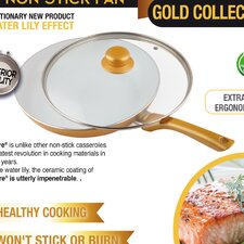 Ceramicore 24 cm Non-Stick Ceramic Saute Pan in Gold with Lid