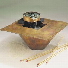 Copper Water and Fire Square Tabletop Fountain