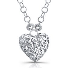 Sterling Silver Heart Brilliant Diamond Pendant Necklace