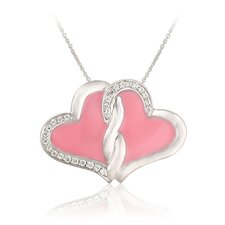 Sterling Silver Heart Cubic Zirconia Pendant Necklace