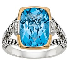 Silver and Gold Blue Topaz Ring