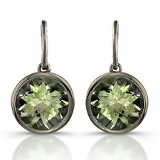 Moonstruck Sterling Silver and Green Quartz 11ct Earrings with Black Rhodium