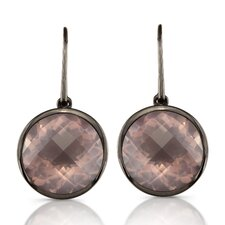 Moonstruck Sterling Silver and Rose Quartz 11 ct Earrings with Black Rhodium