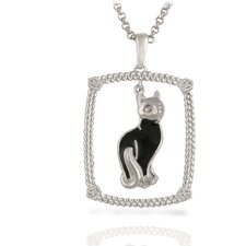"Sterling Silver and Brilliant Diamond ""Black Cat"" Enamel Kitty Pendant"
