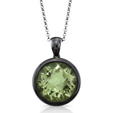 Moonstruck Sterling Silver and Green Quartz 11 ct Pendant with Black Rhodium