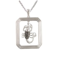 Starry Nights Sterling Silver and Black Diamond Scorpio Star Sign Dog Tag Pendant