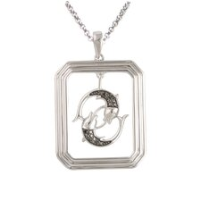 Starry Nights Sterling Silver and Black Diamond Pisces Star Sign Dog Tag Pendant