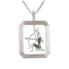 <strong>Élan Jewelry</strong> Starry Nights Sterling Silver and Black Diamond Sagittarius Star Sign Dog Tag Pendant