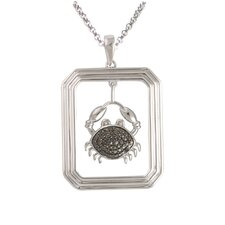 Starry Nights Sterling Silver and Black Diamond Cancer Star Sign Dog Tag Pendant