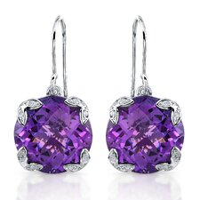 "élan ""Ivy"" Sterling Silver and Brilliant Diamond  14.5 Carat Amethyst Earrings"