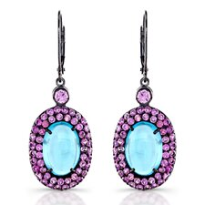 """Charming Cab"" Sterling Silver Blue Topaz Oval Cabochon and Pink Sapphire Earrings with Black Rhodium"