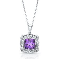"<strong>Élan Jewelry</strong> ""Chrysalis"" Sterling Silver and Brilliant Diamond 3.5 Carat Amethyst Pendant"