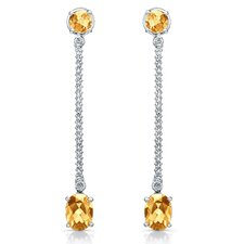 Elegance 3 Carat Citrine and Brilliant Cut Diamond Earrings