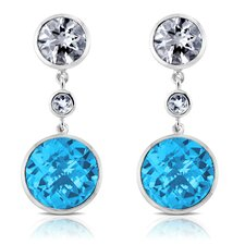 Angelina Sterling Silver Earrings with White Quartz and Swiss Blue Topaz