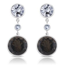 Angelina Sterling Silver Earrings with White Quartz and Smoky Quartz