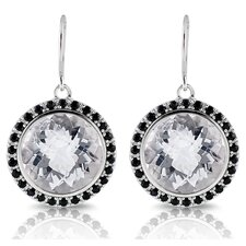 Capri Gemstone Sterling Silver with Black Rhodium Earrings