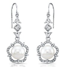 """Magnolia"" Sterling Silver Earrings with Fresh Water Cultured Pearls and White Sapphires"
