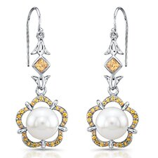 """Tiger-Lily"" Sterling Silver Earrings with Fresh Water Cultured Pearls and Yellow Sapphires"
