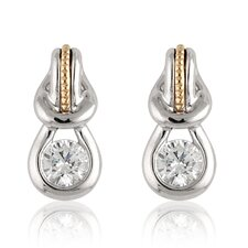 Silver and Gold-Tone Cubic Zirconia Fashion Earrings