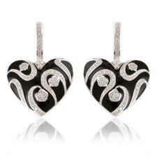 Sterling Silver and Cubic Zirconia Enamel Heart Earrings