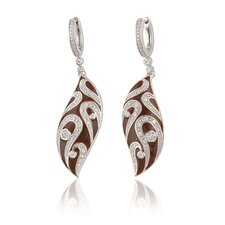 Sterling Silver and Cubic Zirconia  Enamel Fashion Earrings