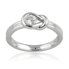 Silver-Tone Round Cubic Zirconia Ring
