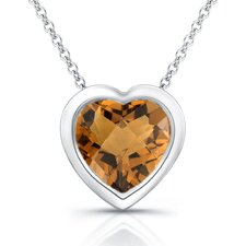 Sterling Silver Cognac Quartz Heart Shaped Necklace