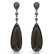 Victoria Gemstone Earrings in Sterling Silver with Black Rhodium
