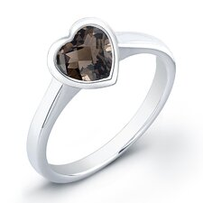 Heart Shaped Sterling Silver Quartz Ring