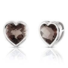 Heart Shaped Quartz Earrings in Sterling Silver