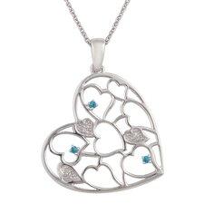 Sterling Silver Heart Gemstone Pendant