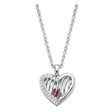 Sterling Silver Pink Tourmaline Heart Pendant Necklace